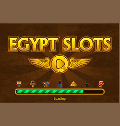 Egyptian slots on background and casino icons vector