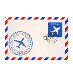 Envelope with milan stamp international mail vector