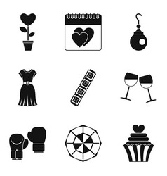 Female beginning icons set simple style vector