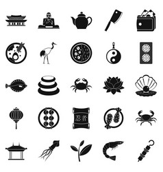 fish food icons set simple style vector image