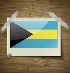 Flags Bahamas at frame on wooden texture vector image vector image