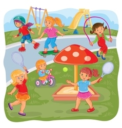 Girls playing on playground vector