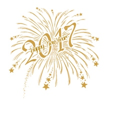 gold firework with happy new year 2017 vector image