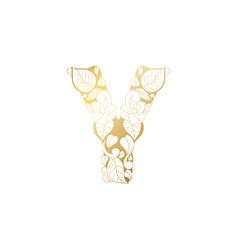 Golden ornamental alphabet letter y font vector