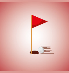 golf hole flag and ball blurred color background vector image