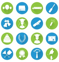 Graduation celebrating icon set vector
