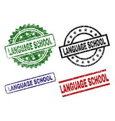 Grunge textured language school seal stamps vector