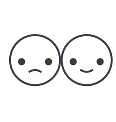 happy and sad emoji concept line editable vector image