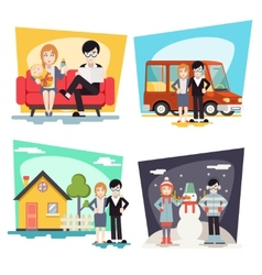 Happy Family Geek Hipster Characters Life vector