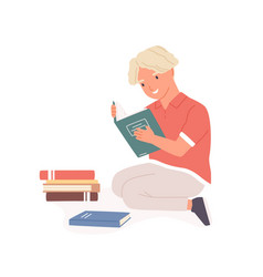 Happy smiling boy sitting with open book in hands vector