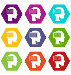 head with open book icon set color hexahedron vector image