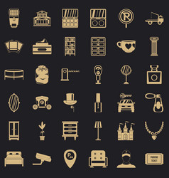 homelike atmosphere icons set simple style vector image