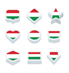 Hungary flags icons and button set nine styles vector