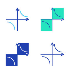 hyperbola curve icon set in flat and line style vector image