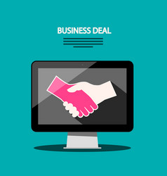 internet business deal flat design with shaking vector image