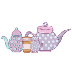Isolated bowl and coffee pots design vector