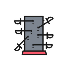Knife throwing board magic flat color line icon vector