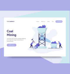 Landing page template of coal mining concept vector