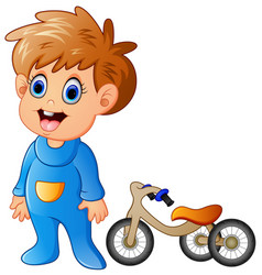little boy with his bicycle vector image
