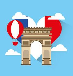 love france heart travel vector image