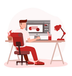 Man graphic designer working on computer vector
