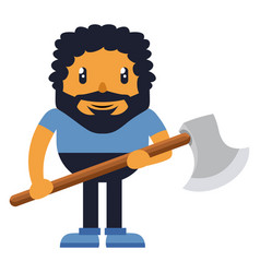 man holding axe on white background vector image