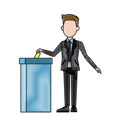 Man voting at ballot box democracy concept vector