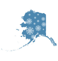 map of alaska with snowflakes vector image