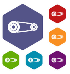 Mechanic belt icons set hexagon vector