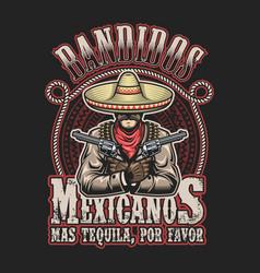 Mexican bandit print template vector