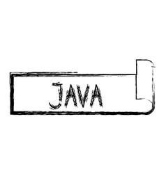 Monochrome blurred silhouette label text java vector