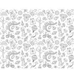Newborn boy baby shower seamless doodle line vector