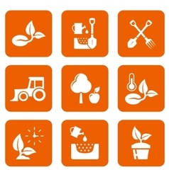 nine agriculture icons vector image
