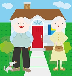 Old couple in front of the house vector
