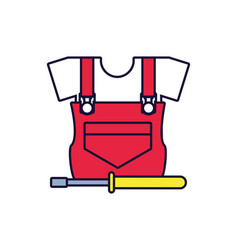 Overall uniform construction with screwdriver vector