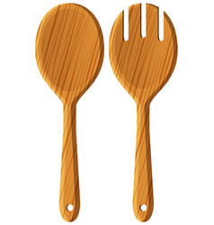 Pair of wooden spoon and fork vector