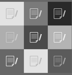 paper and pencil sign grayscale version vector image