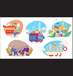People travel in different transport sightseeing vector
