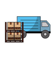 Pile boxes carton in shelf with truck delivery vector