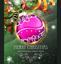 purple christmas bauble with fir branches vector image