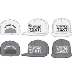 Rap cap front back and side view vector