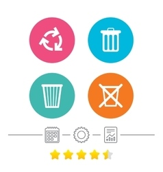 Recycle bin icons Reuse or reduce symbol vector image