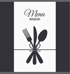 Restaurant menu with fork knife and spoon vector