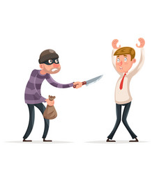 robbery thief robber burglar steal money bag vector image