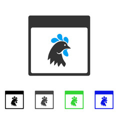 Rooster head calendar page flat icon vector