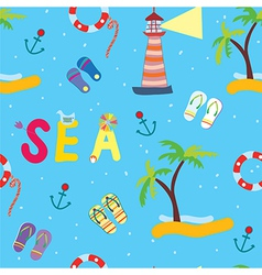 Sea funny seamless pattern vector image