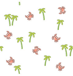 seamless pattern palm tree and crab vector image