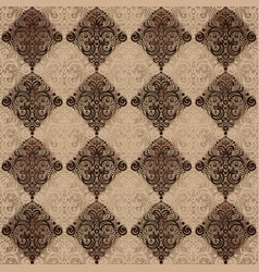 Seamless pattern with rhombus and swirls vector