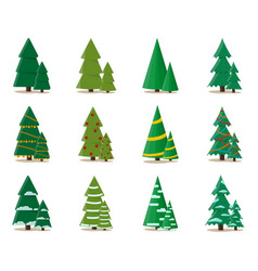 set christmas tree in flat style stylish design vector image