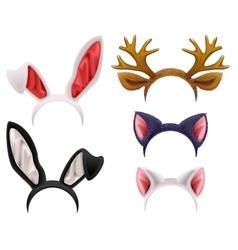 Set mask cat rabbit deer antler and ears vector